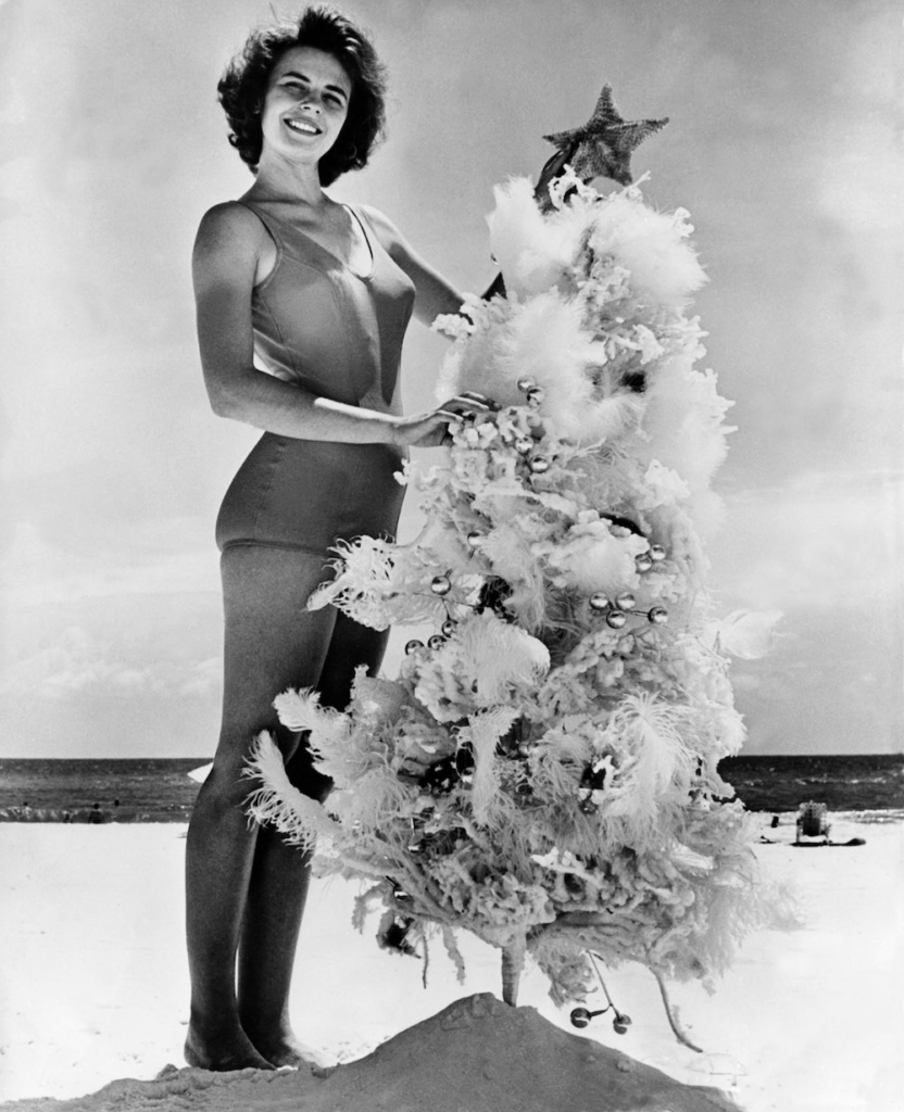 A Christmas tree on Saint-Petersburg beach in Florida, in the 1960's. Un sapin de Noël sur la plage de Saint-Petersburg en Floride dans les années 1960.