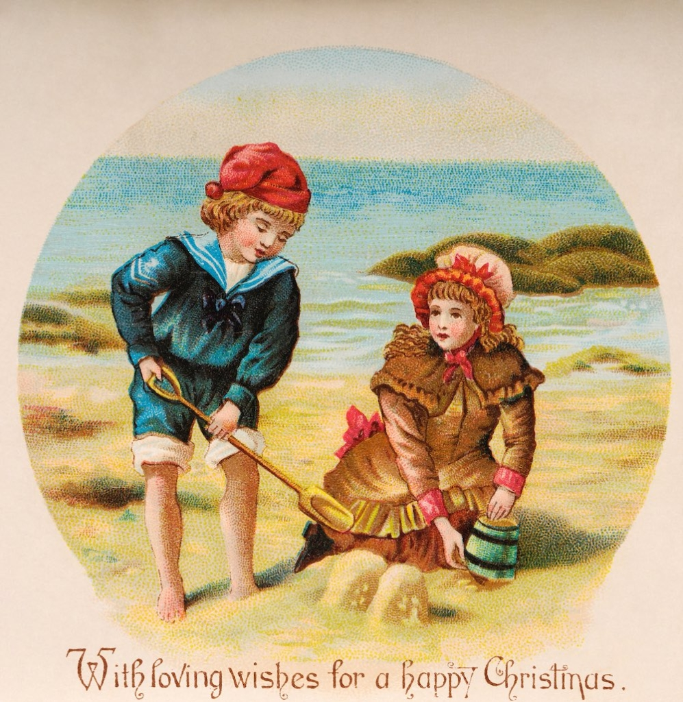 A vintage colour illustration featuring children playing at the seaside and Christmas greetings, circa 1890. (Photo by Popperfoto/Getty Images)